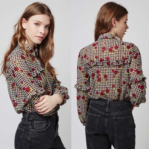 9dd3c615097 Topshop Gingham Floral Ruffle Shirt Blouse Size 8.  M_5b863416d6dc523c52743241